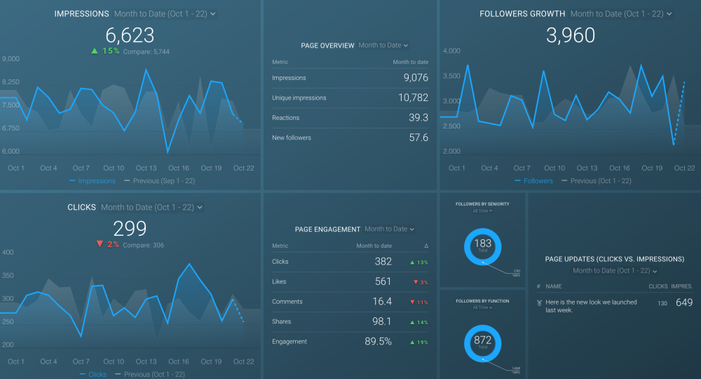 LinkedIn Company Page Engagement Dashboard Template