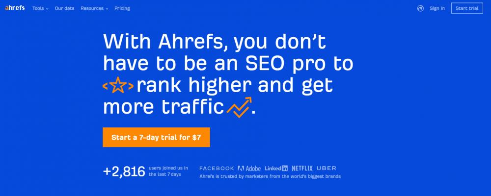 ahrefs homepage headline