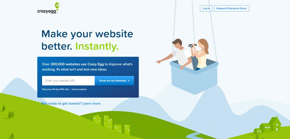 Crazy Egg's homepage headlines