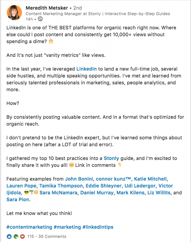 LinkedIn post headline example
