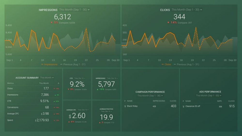 Bing Ads Overview Dashboard