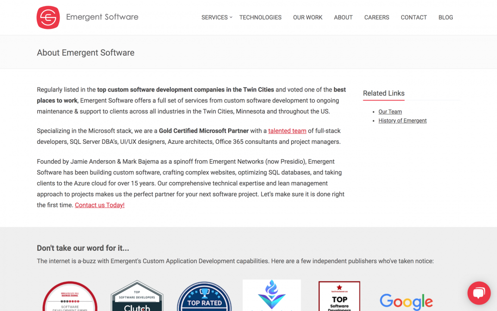 Emergent Software about page