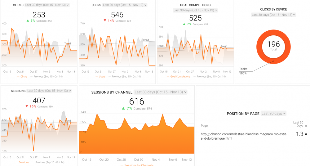 SEO Campaign Performance dashboard template