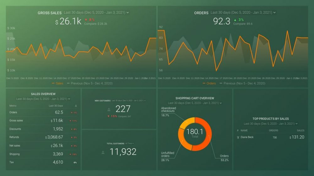 Shopify Store Overview Dashboard Template example