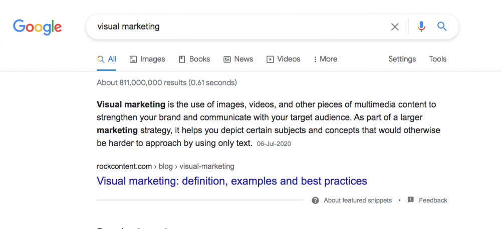 Featured snippets or answer boxes example