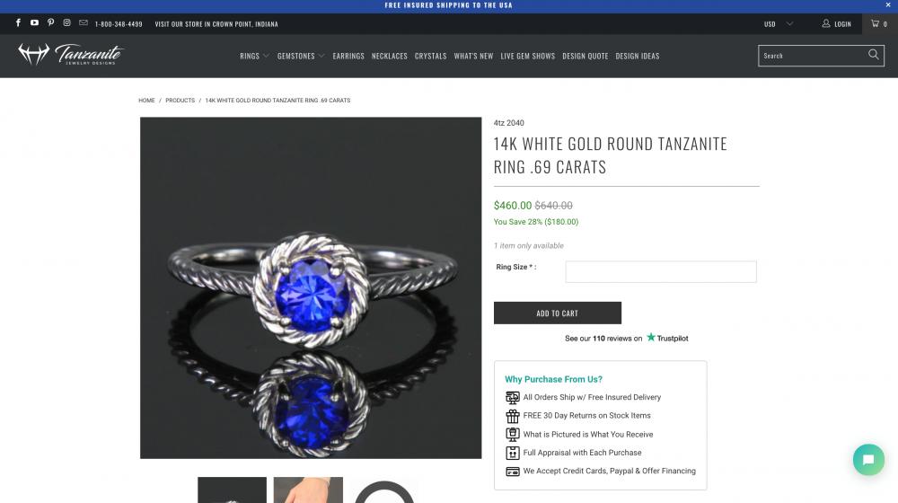 Tanzanite Jewelry Design's product page