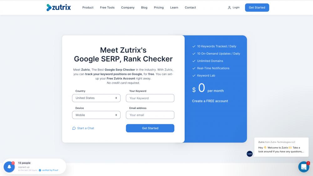 Zutrix's Google SERP, Rank Checker page
