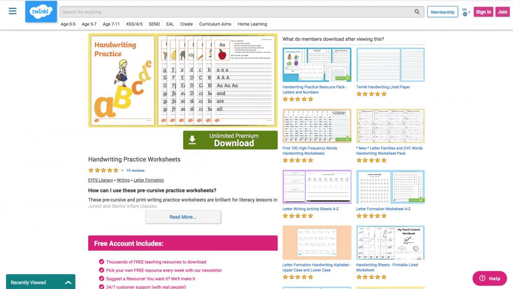 Handwriting activity sheets page
