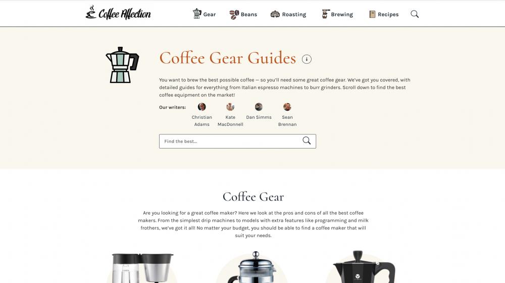 Coffee gear page