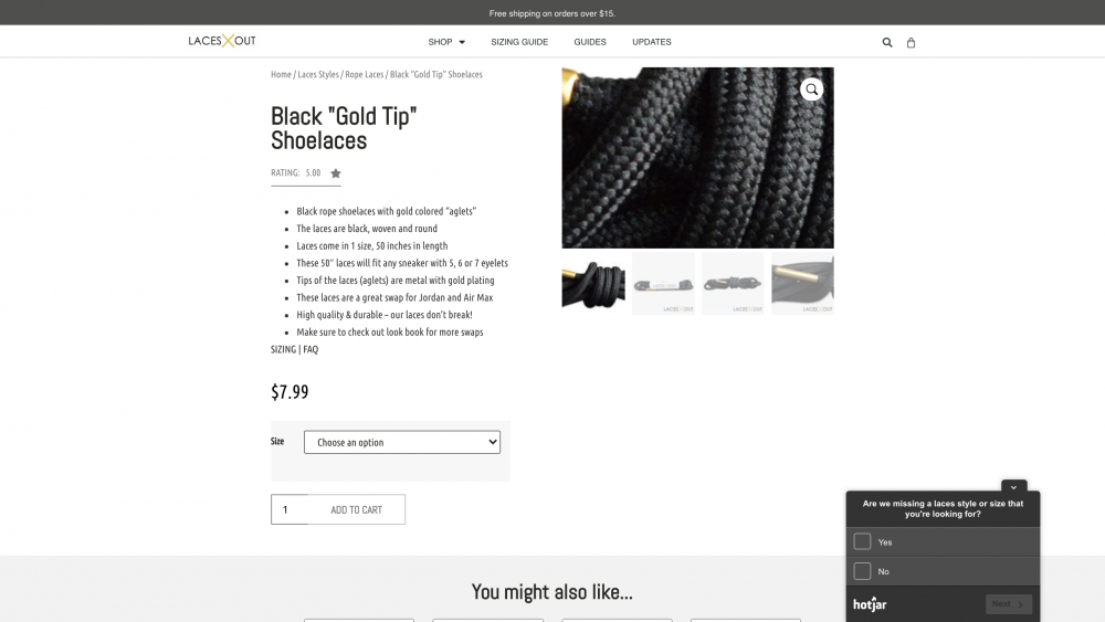 """Black """"Gold Tip"""" Shoelaces page"""