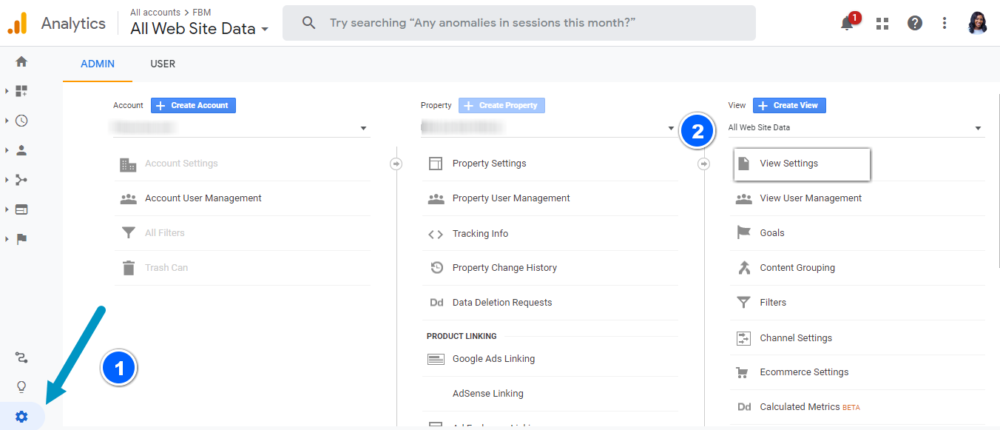 screenshot showing how to enable site search to avoid making a google analytics tracking mistake