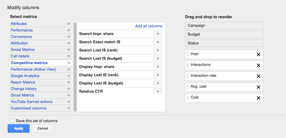 how to measure share of voice for PPC in Google AdWords