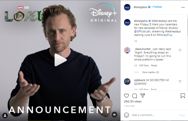 disney special announcement, an example of engaging content on instagram