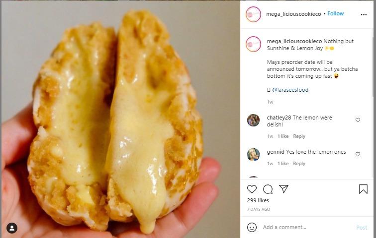 megalicious cookie's instagram post