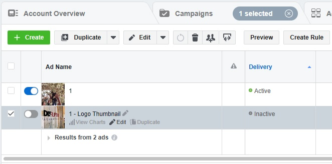 Facebook ads manager account overview