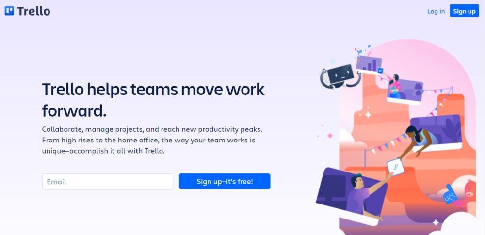 screenshot of project management tool trello