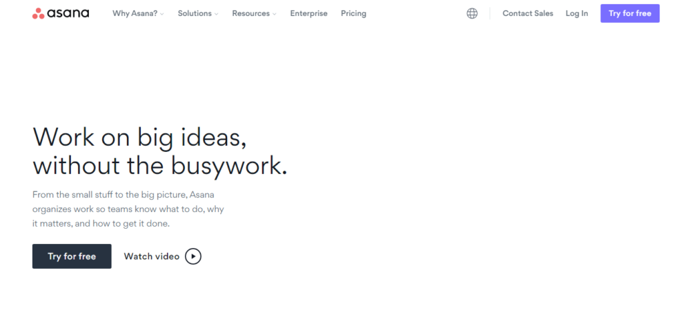screenshot of project management tool asana