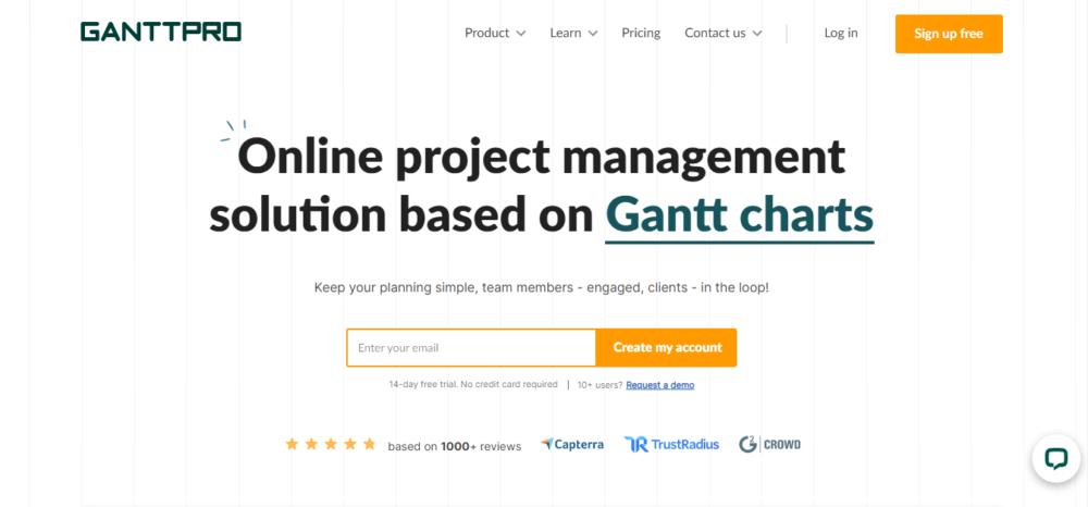 screenshot of project management tool ganttpro