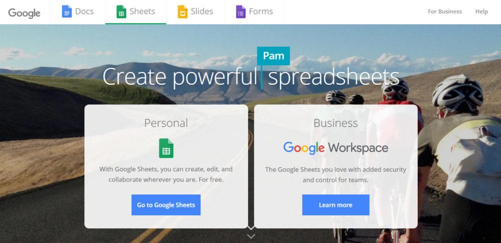 screenshot of project management tool google sheets