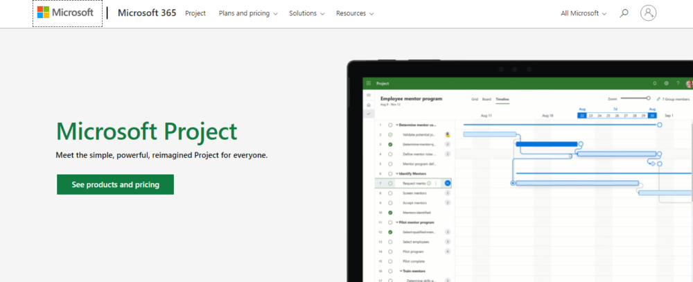 screenshot of project management tool microsoft project