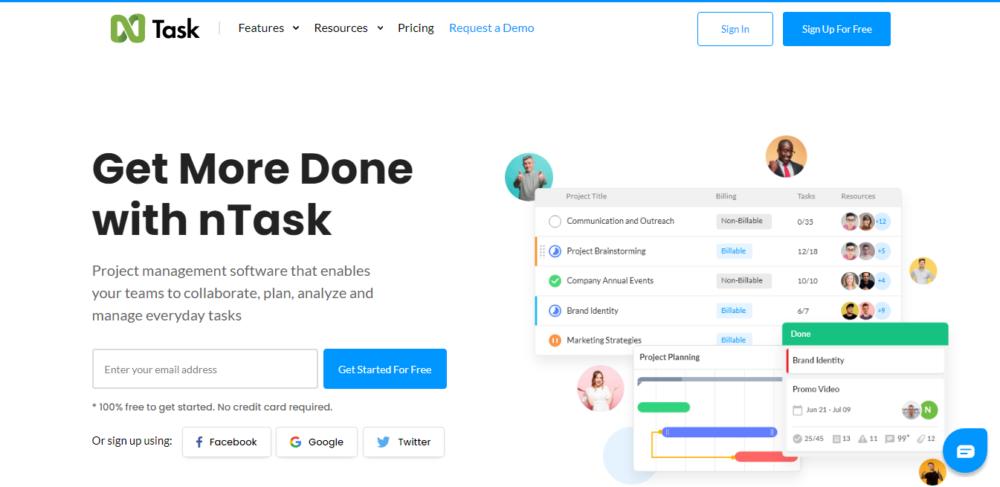 screenshot of project management tool ntask