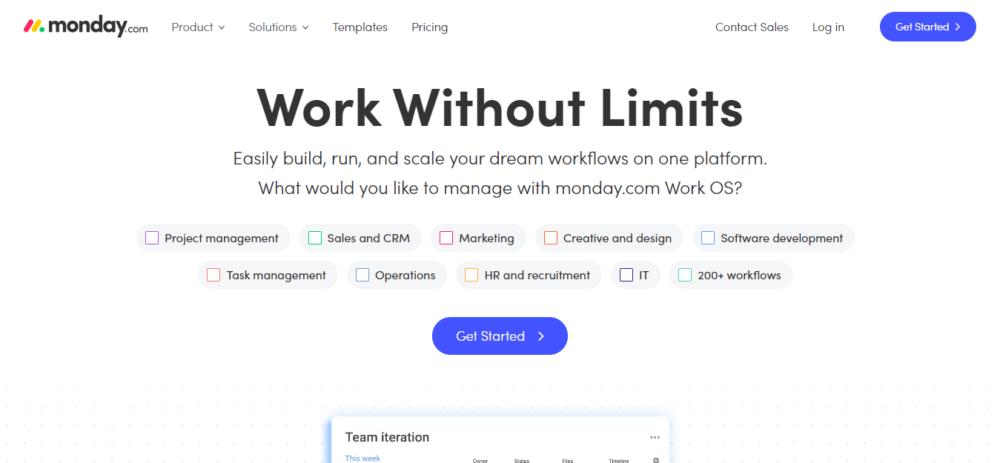 screenshot of project management tool monday.com