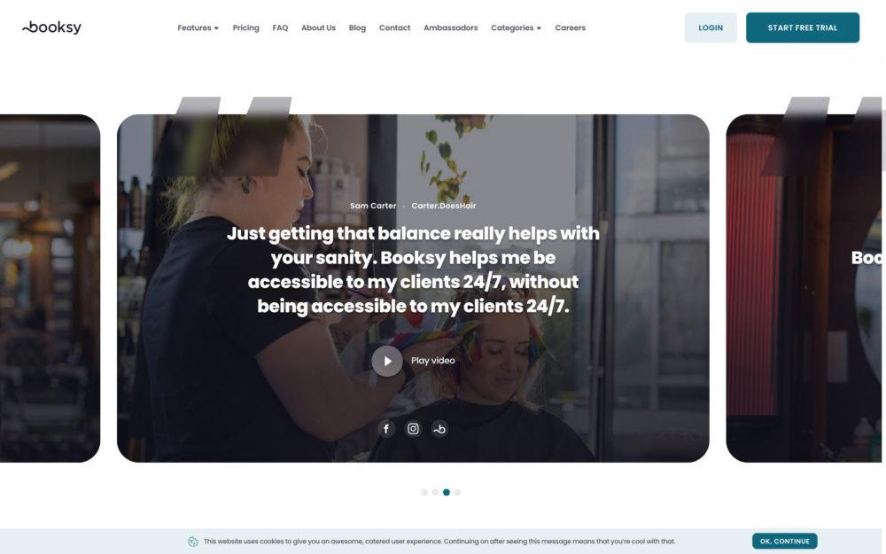 Boosky testimonial page example