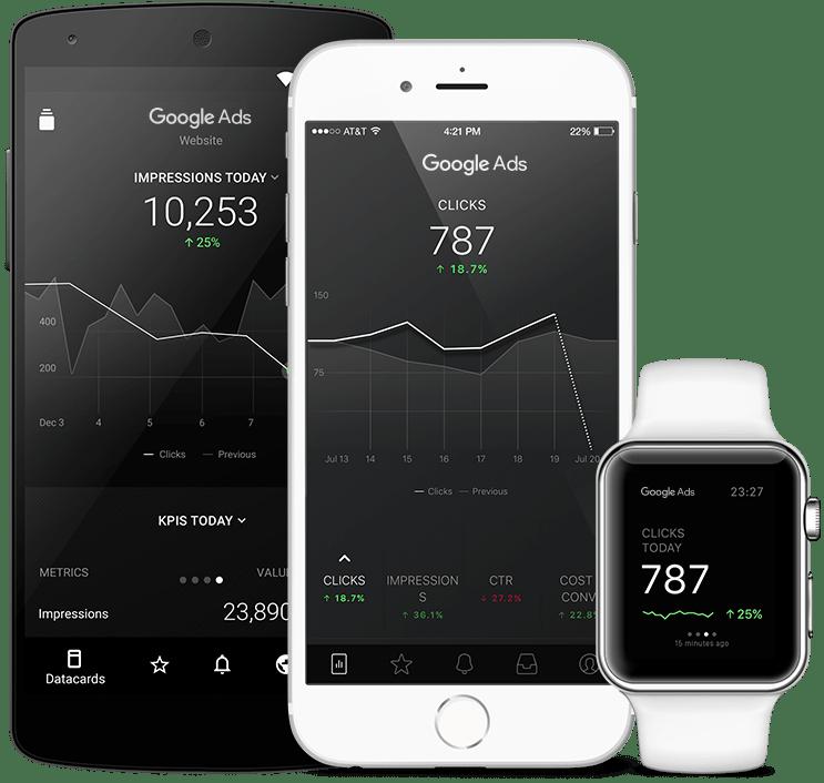 GoogleAdwords metrics and KPI visualization in Databox native mobile app