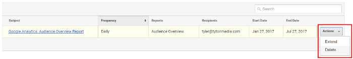 How to Delete Analytics Email Reports